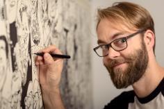 Schnellzeichner Daniel Stieglitz Panorama Karikatur Messe Wandbild