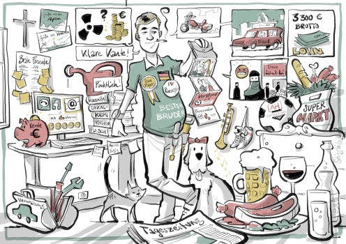 Schnellzeichner Karikaturist Daniel Stieglitz Berlin ZDF wähl mich iPad zeichner