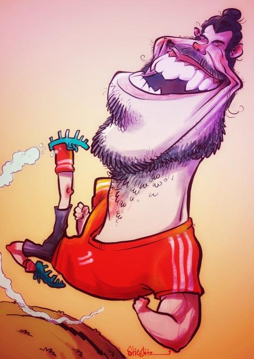 Gareth Bale Karikatur Caricature Caricatura Schnellzeichner Daniel Stieglitz iPad Zeichner Karikaturist