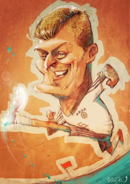 Toni Kroos Karikatur Caricature Caricatura Schnellzeichner Karikaturist Daniel Stieglitz iPad zeichner