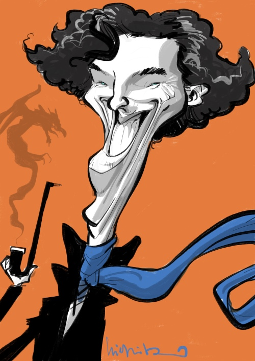 Benedict Timothy Carlton Cumberbatch Karikatur caricature caricatura Schnellzeichner Daniel Stieglitz
