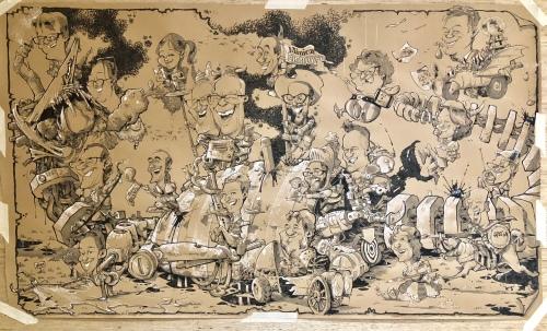 """Panorama Karikatur """"Technology is a Dragon"""" für die Minicon Eindhoven - von Schnellzeichner Daniel Stieglitz"""