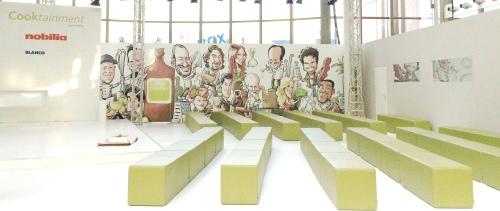 köln messe living kitchen panorama iPad Schnellzeichner MEssezeichner live event Karikaturist Daniel Stieglitz 00003