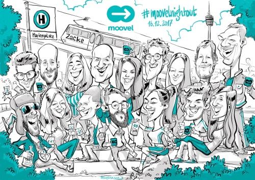 Panorama Karikatur #moovelnightout für MOOVEL - von Schnellzeichner Daniel Stieglitz