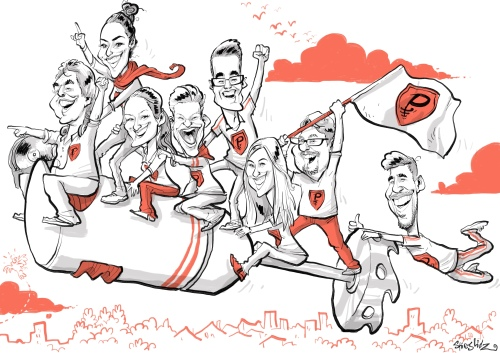 """Panorama Karikatur """"Pürierstäbe"""" für die Theatergruppe DIE DURCHGEBRANNTEN PÜRIERSTÄBE - von Schnellzeichner Daniel Stieglitz"""