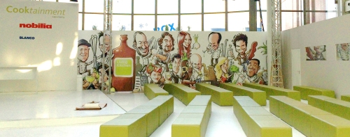 """Panorama Karikatur """"Köche"""" für die Showküche der Messe LIVING KITCHEN - von Schnellzeichner Daniel Stieglitz"""