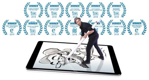 Schnellzeichner Daniel Stieglitz Caricature Artist Awards Preis Preise golden nosey eurocat best caricaturist live weltmeister europameister iPad digital