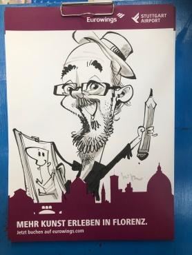 schnellzeichner daniel stieglitz messezeichner caricaturist live event karikaturist eurowings stuttgart airport caricaturist