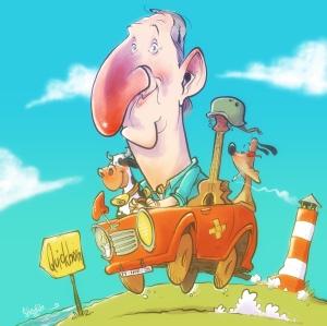 Mike Krüger Karikatur Supernasen Mein Gott Walter der Nippel - von Daniel Stieglitz