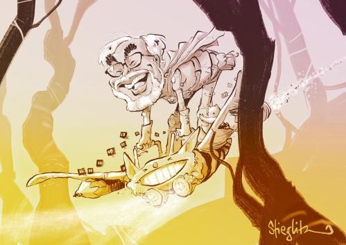Hayao Miyazaki Karikatur Caricature Caricatura by Schnellzeichner Daniel Stieglitz
