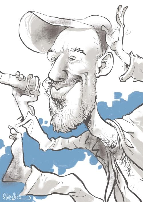Jan Plewka tempeau selig band Karikatur Caricature Caricatura by Schnellzeichner Daniel Stieglitz