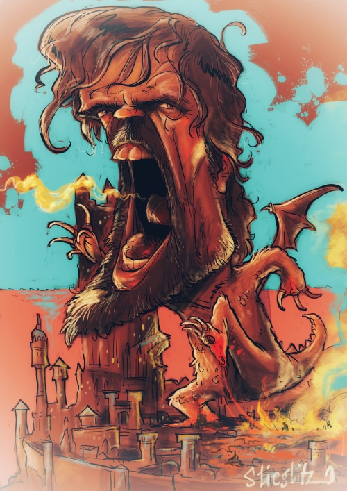 Peter Dinklage Tyrion Lennister got Game of Thrones Karikatur Caricature Caricatura by Schnellzeichner Daniel Stieglitz