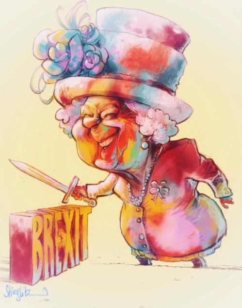 Queen elisabeth 2 Karikatur Caricature Caricatura by Schnellzeichner Daniel Stieglitz