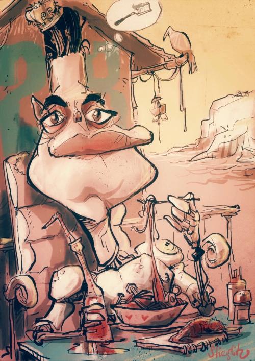 Rami Malek Karikatur Caricature Caricatura by Schnellzeichner Daniel Stieglitz