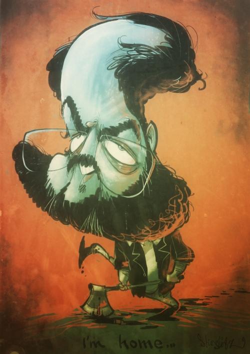 Stanley Kubsick shining Karikatur Caricature Caricatura by Schnellzeichner Daniel Stieglitz
